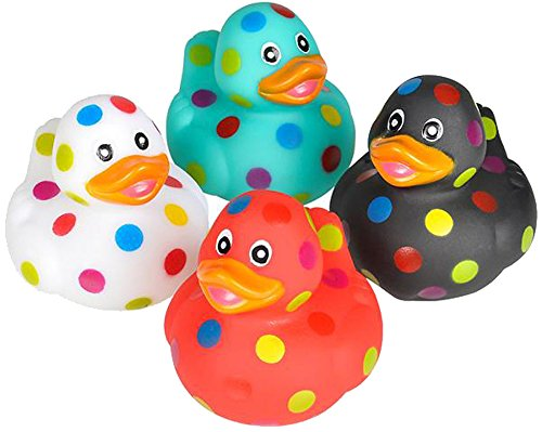 1 Assorted Color Polka Dot Rubber Ducky