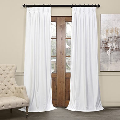 Half Price Drapes Vpch-110602-84-Fp Signature Pleated Blackout Velvet Curtain, 25 X 84, Off White