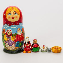 Load image into Gallery viewer, Matryoshka Theater 7Pcs Riaba The Hen Fairy Tale New Beautiful Red Wooden Russian Nesting Dolls Gift Matreshka Handmade