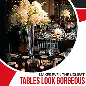 Spring Rose(Tm) 120 Inch Black Round Polyester Tablecloth. Ideal For Any Gala Including A Party,A Banquet, Or Holiday Dinner.