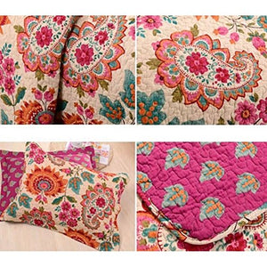 Alicemall Boho Bed In A Bag Exotic Paisley And Flower Print Comforter Set 100% Cotton Bohemian Bedspread/ Quilt Set, 3 Pieces, Queen Size (Multi Rose Red)