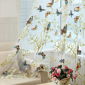 Alifish 1 Panel Dandelion And Butterfly Pattern Window Treatment Sheer Curtains Rod Pocket Tulle Curtains For Living Room W75 X L84 Inch