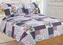 Load image into Gallery viewer, All For You 2-Piece Reversible Bedspread/ Coverlet / Quilt Set-, Pink, Burgundy, Blue,Navy And Green Patchwork Prints (Twin)