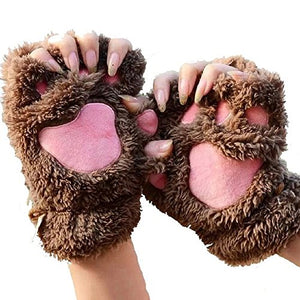 Himine Cat Claw Bear Paw Fingerless Winter Plush Gloves 1*Pair (Brown)