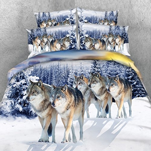 Alicemall Full Size Wolf Bedding Set Lifelike Snow Wolf Digital Printing 5-Piece Comforter Sets, Twin/ Full/ Queen/ King Size (Full)