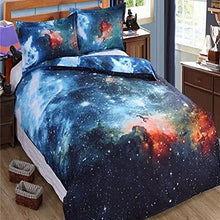 Load image into Gallery viewer, Alicemall King Size Galaxy Bedding Outer Space Home Textile Fabric Polyester 4-Piece Duvet Cover Sets, Blue Galaxy Bedding (King)