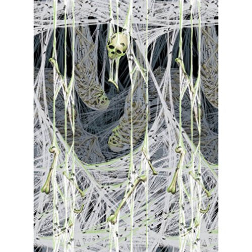 Amscan Spider'S Lair Halloween Trick Or Treat Party Zombie Scene Setter Room Roll (1 Piece), White, 48 X 40'