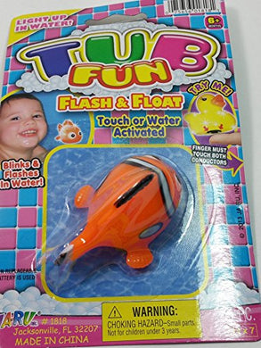 Tub Fun Orange Clownfish (Nemo) Light Up Water Toy Pool Or Bathtub Led Flashing