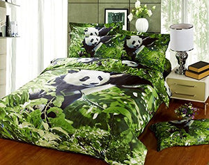 Alicemall 3D Panda Bedding Set 100% Cotton Reactive Printing Panda Climbing Trees Green 4 Pieces Duvet Cover Sets, Full Size (Full)