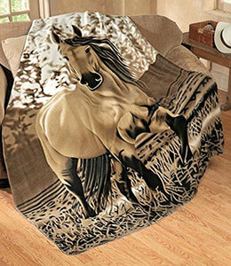 Galloping Horse Oversized Throw 63 X 73 Fleece Blanket Western Decor