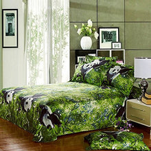 Load image into Gallery viewer, Alicemall 3D Panda Bedding Set 100% Cotton Reactive Printing Panda Climbing Trees Green 4 Pieces Duvet Cover Sets, Full Size (Full)