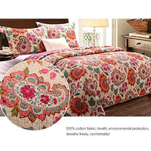 Load image into Gallery viewer, Alicemall Boho Bed In A Bag Exotic Paisley And Flower Print Comforter Set 100% Cotton Bohemian Bedspread/ Quilt Set, 3 Pieces, Queen Size (Multi Rose Red)