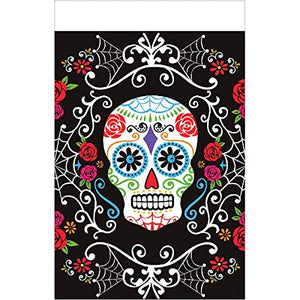 Day Of The Dead Sugar Skull Reusable Plastic Table Cover, 54 X 102