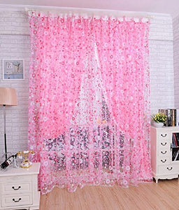 Alifish 1 Panel Pink Little Flower Pattern Decorative Sheer Curtains Rod Pocket Curtains For Girls Room/Sliding Glass Door 75 Inches Wide By 84 Inches Long