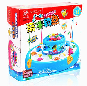 Stillcool Fishing Game With Double Fish Pool & 26 Fishes Magnetic Rotating Light And Music Christmas Toy Gifts