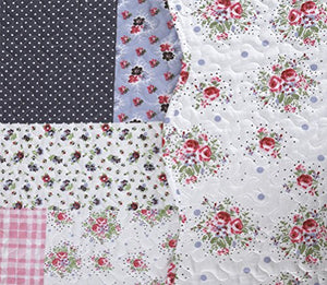 All For You 2-Piece Reversible Bedspread/ Coverlet / Quilt Set-, Pink, Burgundy, Blue,Navy And Green Patchwork Prints (Twin)
