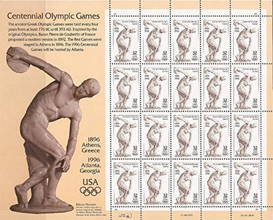 Centennial Olympic Games Atlanta 1996 Sheet Of Twenty 32 Cent Postage Stamps Scott 3087 By Usps