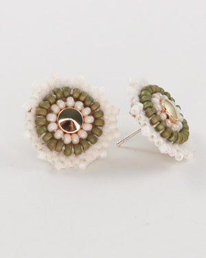 Round Studs in Olive and Cream