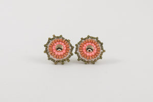 Round Studs in Olive and Bright Berry Blush