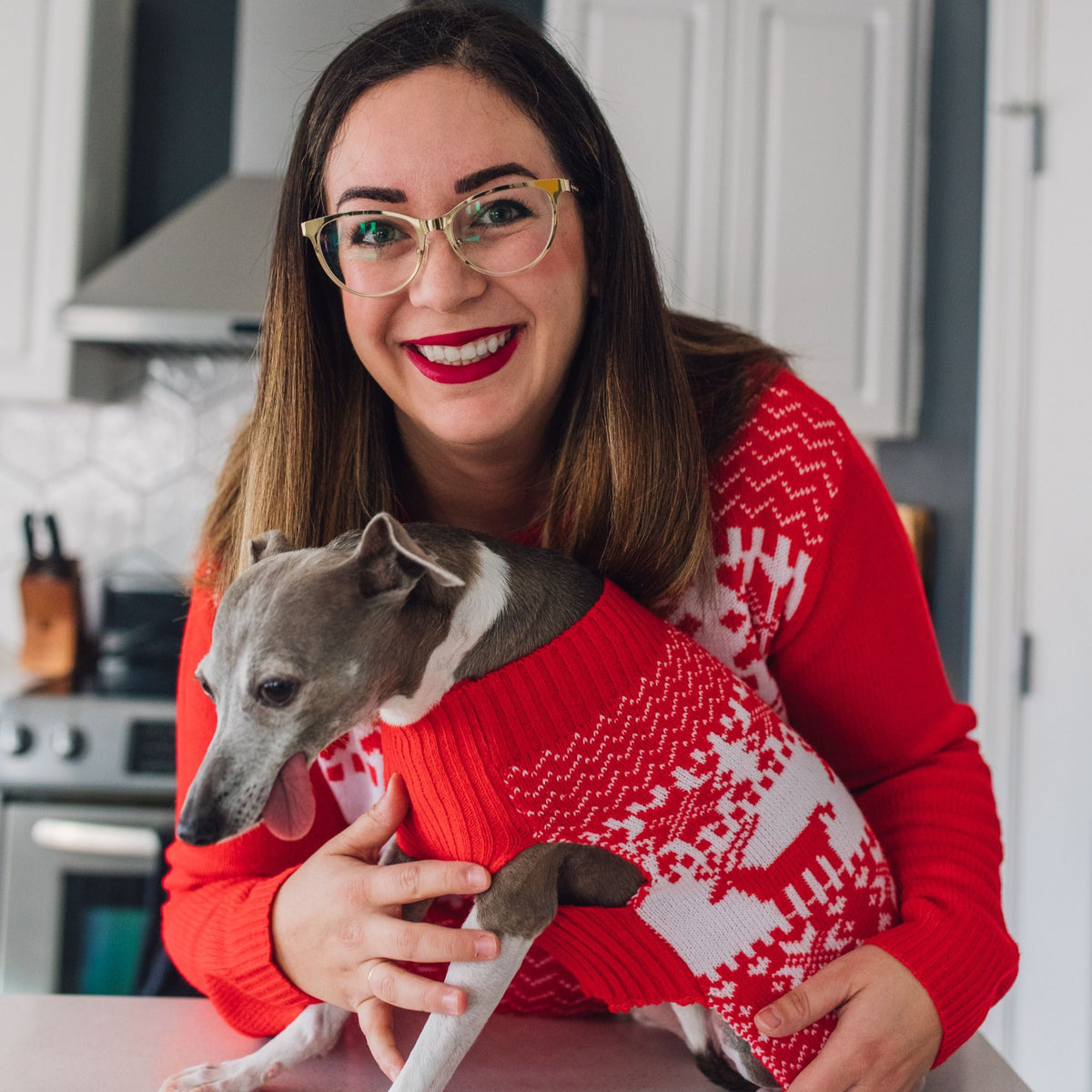 Human and Italian Greyhound in Classic Christmas sweaters