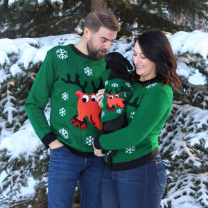 Rad Reindeer Matching Pet and Owner Christmas Sweaters