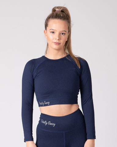 Classic Navy Long Sleeve Crop