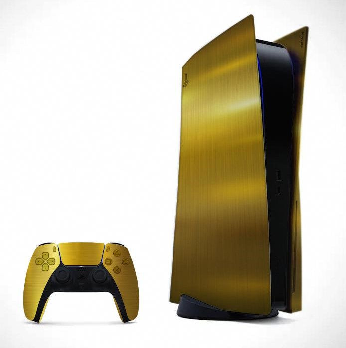 PS5 DISC EDITION CARBON FIBER SKIN IN CARBON GOLD