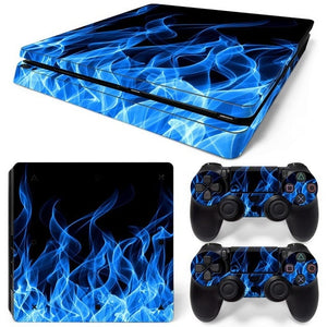 PS4 SLIM LIMITED EDITION VINYL SKIN BUNDLE BLUE FLAMES