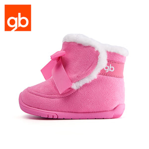 Goodbaby Gita Bow Suede Boots with Shearling Pink