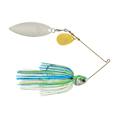 Booyah Covert Colorado Willow Blades Spinnerbait 1/2 oz / White Chart Blue G/N Blade / Gold Colorado/Nickel Willow