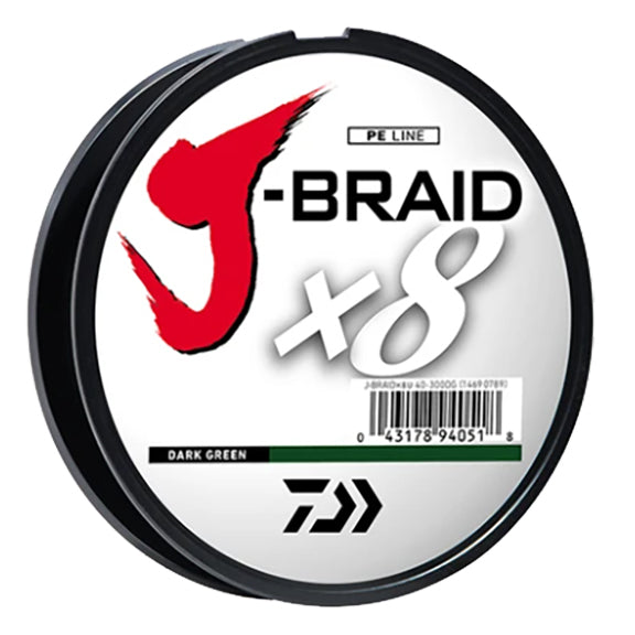 Daiwa J-Braid x8 Braided Line 20lb / 165 Yards / Dark Green