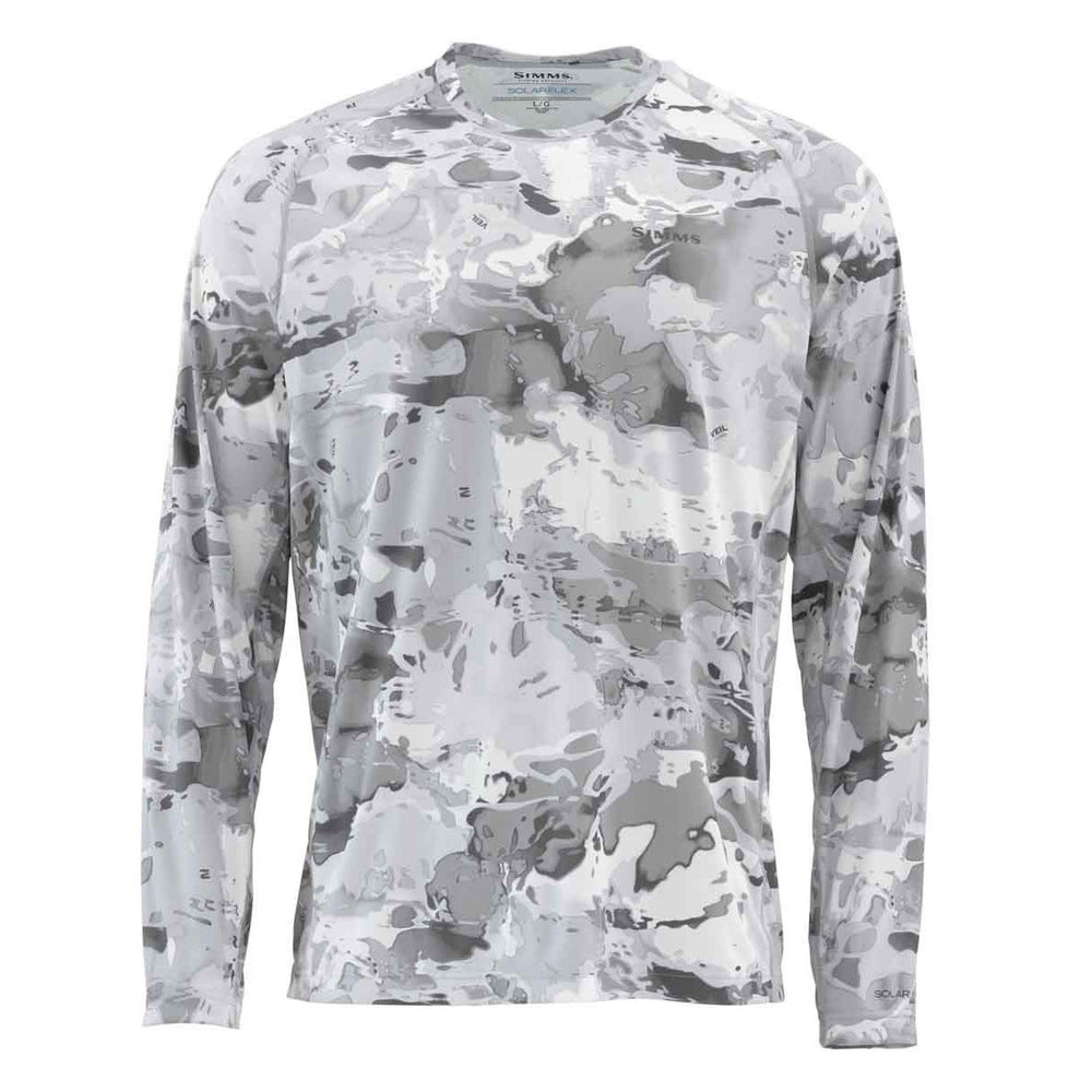Simms Men's SolarFlex Long Sleeve Crewneck - Print Small / Cloud Camo Grey