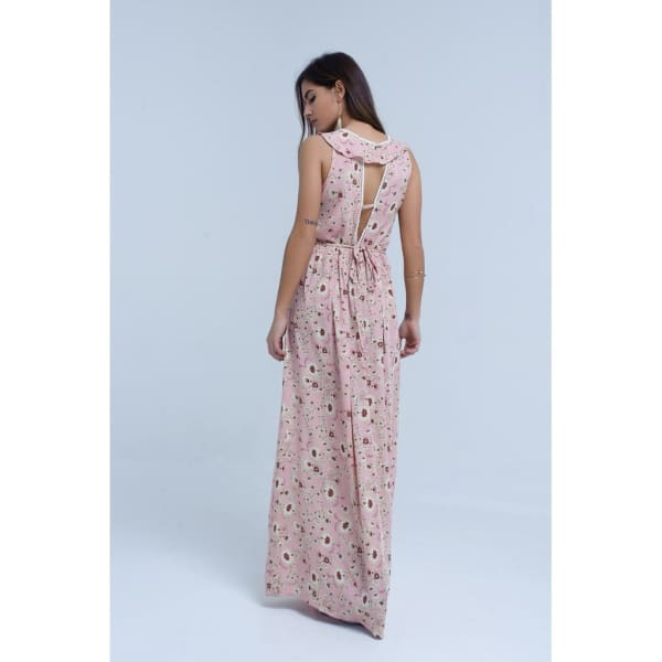 Pink Floral Print Maxi Dress With Ruffle Detail Women - Apparel - Dresses - Day To Night - Q2 | Designer Surplus Ny