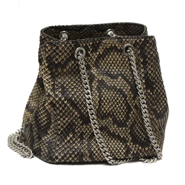 Saint Laurent Emmanuelle Python Leather Bucket Bag Shoulder Bags - Saint Laurent | Designer Surplus Ny