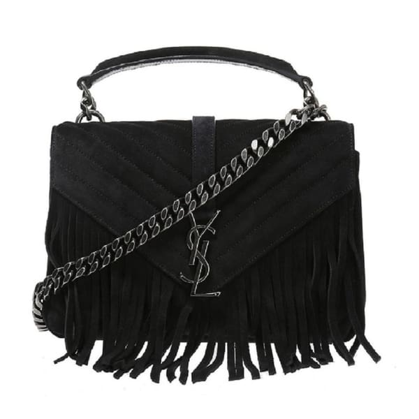 Saint Laurent Ysl Black Suede Fringe Handbag Bags - Handbags - Saint Laurent | Designer Surplus Ny