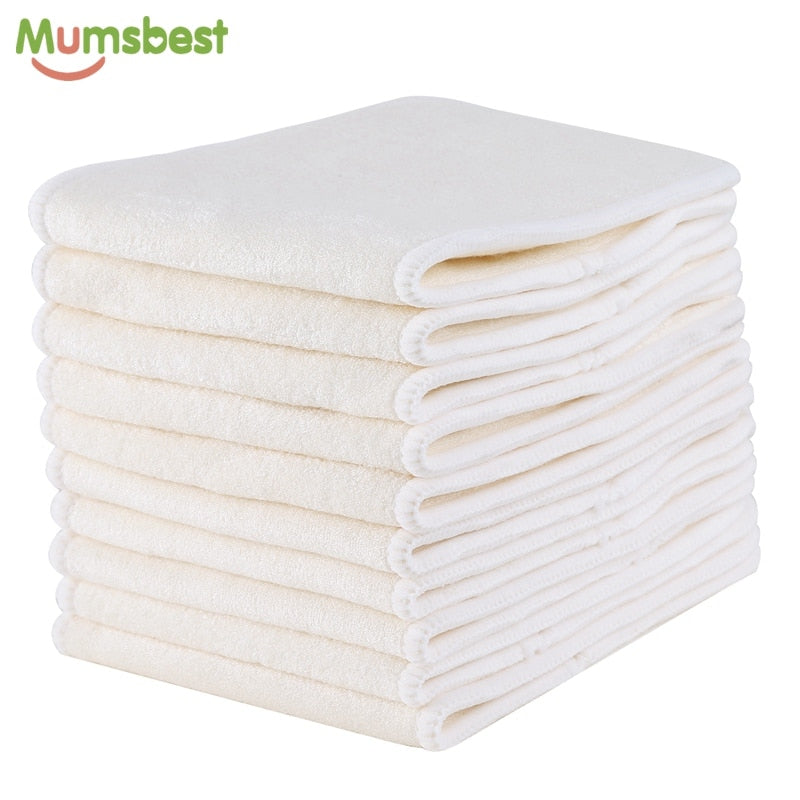 10 Pcs 4 Layers Bamboo Insert Reusable Washable Breathable Inserts Boosters Liners For Baby Cloth Diapers Nappy - hellomybb