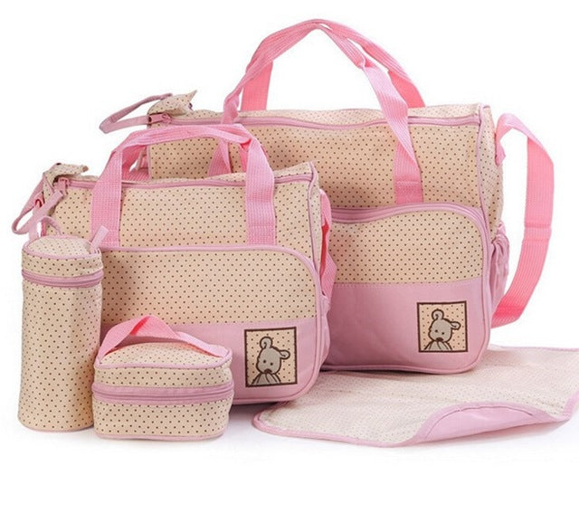 5pcs Baby Diaper Bag Suits For Mom Baby Bottle Holder Mother Nappy Bags Sets - hellomybb