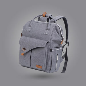 Grey Backpack Nappy Bag for Dads waterproof  with Stroller Straps Baby Product - hellomybb