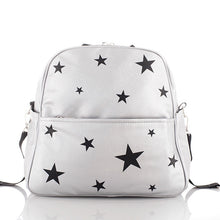 Load image into Gallery viewer, Mother Diaper Bag for Baby Silver Glitter Leather Black Stars Backpack Mommy Bag - hellomybb