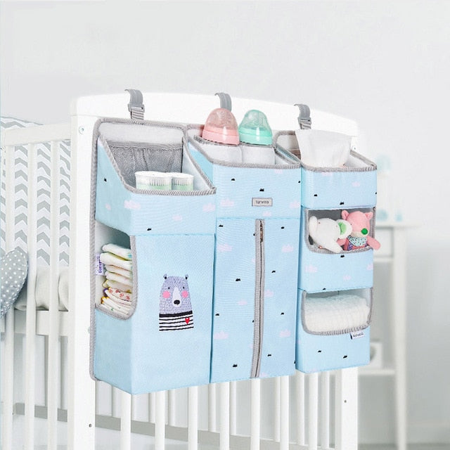 Portable Baby Crib Organizer Bed Hanging Bag for Baby Essentials Diaper Storage Cradle Bag Bedding Set Diaper Caddy - hellomybb