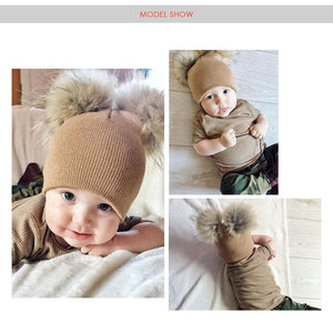 Children Hat Toddler Kids Baby Warm Winter Wool Hat Knit Beanie Fur Pom Hat Boys Girls - hellomybb
