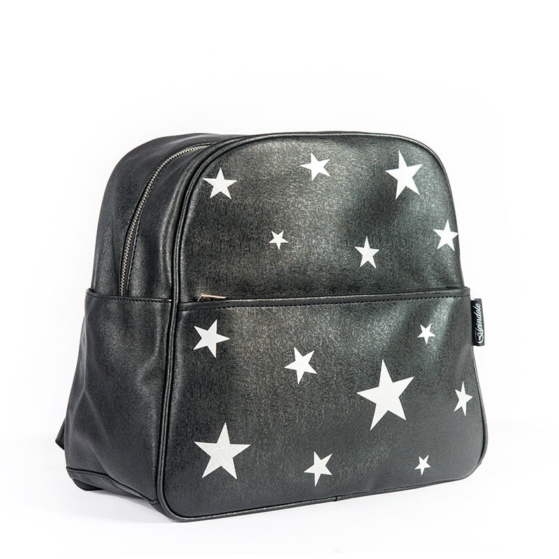 Mother Diaper Bag for Baby Silver Glitter Leather Black Stars Backpack Mommy Bag - hellomybb