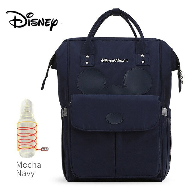 Disney USB Bottle Feeding Travel Backpack Baby Bags For Mom Storage Bag Mummy Bags Mocha Cute Waterproof Diaper Bags - hellomybb