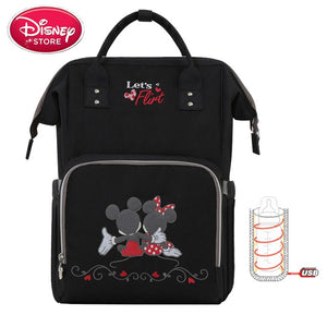 Disney Diaper Bag Backpack USB Bottle Insulation Baby Nappy Bags Minnie Mickey - hellomybb