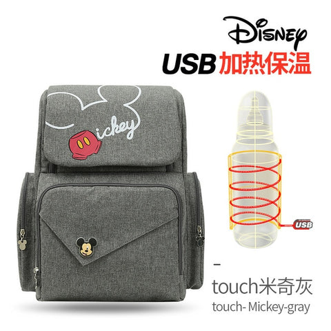 New Disney Mummy bag mickey mouse bag baby diaper bag backpack USB cup heating - hellomybb