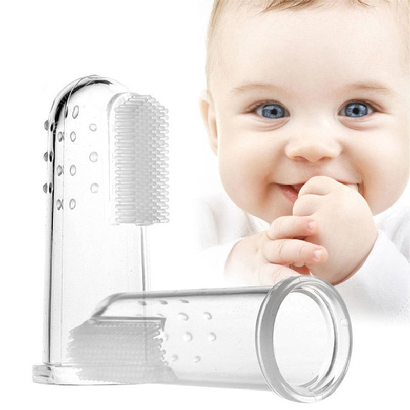 Cute Baby Finger Toothbrush With Box Children Teeth Clear Soft Silicone Infant Rubber Cleaning Brush - hellomybb