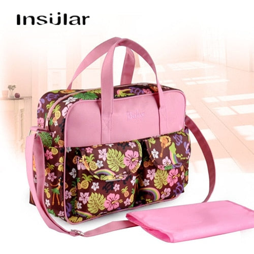 INSULAR Fashion Large Travel Diaper Bag Nappy Messenger/ Totes Stroller Baby Bags for mom with Changing Pad - hellomybb