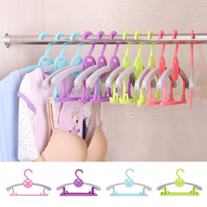 1 pc Magic Multi-Functional adjustable Plastic Baby Hangers Clothes Hanger - hellomybb