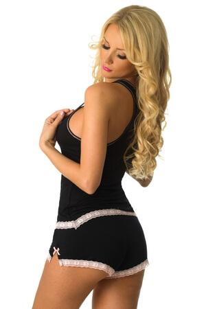 Black Sweetness Short PJ Set - LingerieDiva