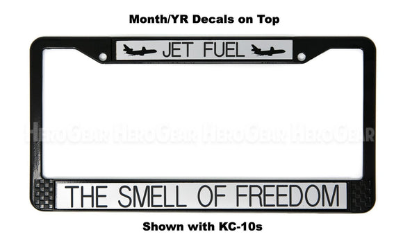 JET FUEL - THE SMELL OF FREEDOM License Plate Frame (WITH Aircraft)